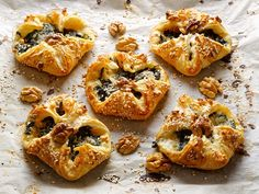 These little Hot Cropwell Bishop Stilton and Spinach Puffs are bound to be popular at parties, they look wonderful and taste divine. They're really simple to make, too. You can freeze them then pop in the oven just as guests arrive. Cheese Recipes, Pie Recipes, Recipies, Spinach Puff Pastry, Cheese Puffs, Irish Recipes, Blue Cheese, Vegetable Pizza, Feta
