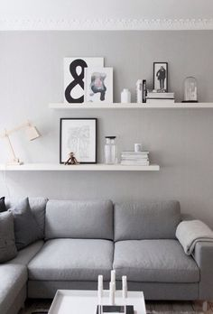 living room details, grey walls, from createcph. living room details, grey walls, from createcph. Shelves Above Couch, Living Room Shelves, Living Room Wall Decor Ideas Above Couch, Ikea Wall Shelves, White Wall Shelves, Decorative Wall Shelves, Sofa Shelf, Gallery Wall Shelves, Decorative Fireplace