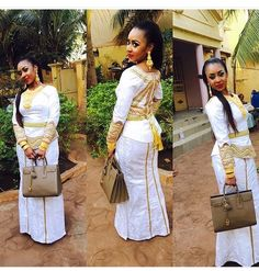 Malian fashion.wedding guest wearing white bazin outfit with gold embroidery