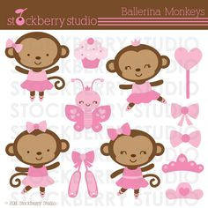 Ballerina Monkey Personal and Commerical Use Vector Clipart Set  - Instant Download. $5.00, via Etsy.
