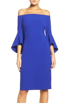 Free shipping and returns on Chelsea28 Off the Shoulder Dress at Nordstrom.com. A trendy off-the-shoulder neckline and voluminous bell sleeves give this crisp crepe dress its dramatic impact.
