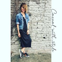 "Keep your casual stylish! Cecilia Blankens downdresses our sparkly sneaker ""The Gloria"" with a jersey dress and ripped denim jacket. #blankensspringsummer2016 #blankens #thegloria"