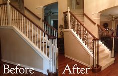 At the Jackson home Venetian Stairs was brought in to do a full baluster upgrade. The existing wooden balusters were replaced with our PC33/1, PC18/1, and PC18/1 wrought iron pickets. We also replaced the shoe rail. As you can see, the new baluster pattern is quite striking.