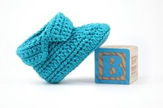 Blue Crochet Baby Boots // 0 to 6 Months by lauraanncrochet, $9.00