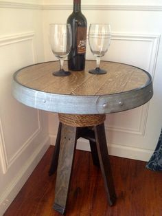 wine barrel table by MatthewDavidCreation on Etsy, $175.00