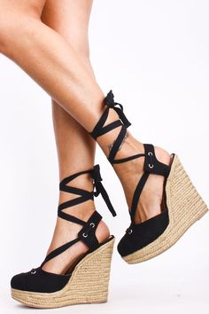 Lace Up Wedge Heels | Fs Heel