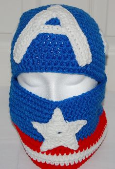 Crochet Captain America Hat and Cowl Set by efficientsense on Etsy