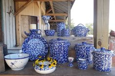 Cobalt Blue and White Spongeware made at Forks Road Pottery, Grimsby, Ontario.