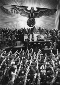 Hitler Declaring War on the United States in the Reichstag by Heinrich Hoffmann