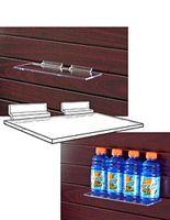 """10"""" x 4"""" Acrylic Slatwall Shelf w/ Brackets - Clear"""