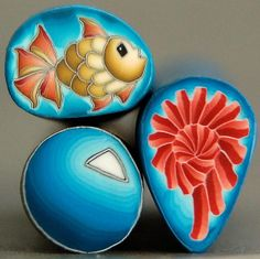 Set of 3 Polymer Clay Mini Canes 'Under the Sea' от ikandiclay, $7.50