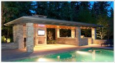 Address Available Upon Request - West Vancouver Homes and Real Estate - BC, Canada Whilst Backyard Cabana, Outdoor Cabana, Backyard Pavilion, Pool Cabana, Outdoor Gazebos, Backyard Pool Landscaping, Backyard Kitchen, Backyard Pool Designs, Swimming Pools Backyard