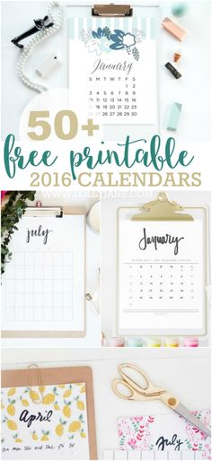 50+ FREE Printable 2016 Calendars - The ultimate roundup of 2016 calendar free printables!!
