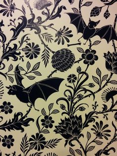 Floral & bat wallpaper art statement wall for halloween or the gothic home