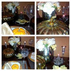 Fall dinner table setting.