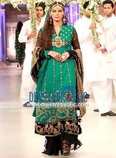 Aqua Green n Black Two-legged Sharara Dress Showcased in PBCW 2013