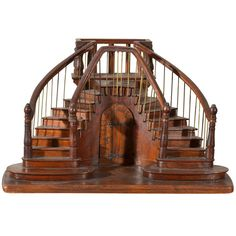 Early 20th c. Signed Miniature Staircase made by a Compagnon