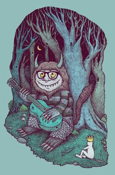 Where the Hip Things Are by Alvaro Arteaga. (just in case you didn't know, its inspired by the fantasy film 'Where the Wild Things are. Art And Illustration, Maurice Sendak, Favim, New Art, Just In Case, Just Love, Illustrators, Pop Culture, Fairy Tales