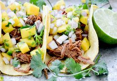 ... slow cooker chipotle barbecue shredded beef tacos with mango salsa