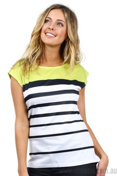 Mackenzie Stripe Tee in Lime $25  Say Bonjour to the Mackenzie Tee! The classic black and white striped, frenchy chic top has a sweet twist with a pop of tasty lime! This top fits slightly loose on your body, coming in just a little bit under the bust. The use of the stripes in various thickness is super flattering along with the shape of the top.