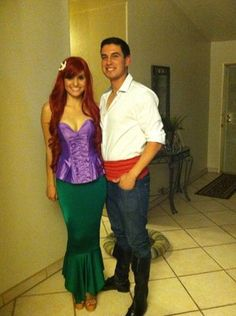 Adult Little Mermaid Costume- halloween Ariel Costumes, Cute Costumes, Adult Costumes, Cosplay Costumes, Costume Ideas, Mermaid Costumes, Fröhliches Halloween, Couple Halloween Costumes, Simple Couples Costumes