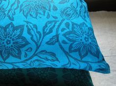 navy passionflower on brilliant blue linen hand block by giardino