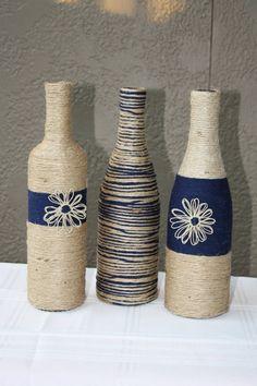 Set of 3 Custom Wrapped Wine Bottles Jute by DragonflyDaisies