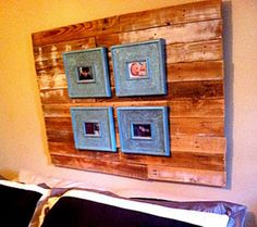 This may be my new headboard. Repurposed wood from a pallet- $0.