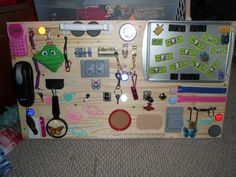 """We made a """"busy board"""" for our friend's kid yesterday. super fun and very proud of the result. #handmade #crafts #HowTo #DIY"""