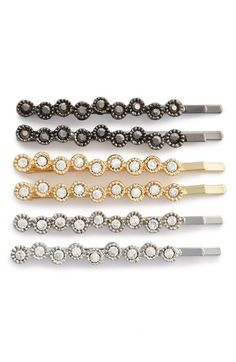 'Sparkle' Bobby Pins (6-Pack). Twinkly crystals catch the light on mixed-finish bobby pins that are just the thing to accent your updo.