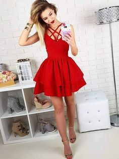 Cheap homecoming dresses 2017,Sexy A-Line Spaghetti Straps Criss Cross Tiered Satin Short Homecoming Dress