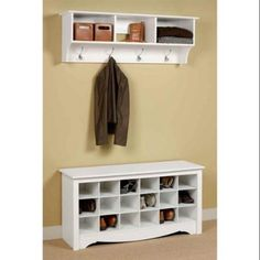 Entryway Wall Mount Coat Rack w Shoe Storage Bench in White
