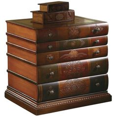 maitland-smith stacked books coffee table with drawers | stacked