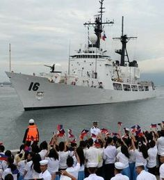 Philippine Navy high-endurance Hamilton-class cutter, the BRP Ramon Alcaraz was welcomed Aug. 6 as it arrived at the former US naval base in Subic Bay. The Philippines wants to acquire two more Navy ships from the United States to boost its maritime protection amid threats from China, the country's military chief said Jan. 15. (Ted Aljibe / AFP)