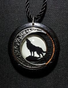 Wolf and Moon Pendant in Burnt Oak + Free Shipping Worldwide, wolf and moon jewelry, wolf jewelry, moon jewelry,gypsy jewelry,reclaimed wood by OurArtyCreations on Etsy
