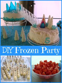 DIY Disney Frozen Birthday Party ~ Elsa's Ice Castle, String Cheese Olafs, Anna's Thawed Hearts, and much much more!