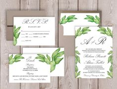 Leaf Wedding Invitation Printable Garden Wedding Invitation Set Botanical Wedding Invite Suite by PucciPaperie