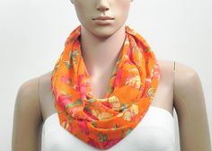 Orange Infinity Scarf  Floral Loop Scarf & Long by FashionPopups