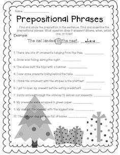 Underlining Prepositional Phrase Worksheets Part 1 | Prepositions ...