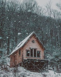 cabin in snow - Kyle Finn Dempsey Cabin Homes, Log Homes, Cabins And Cottages, Log Cabins, Rustic Cabins, Wooden Cabins, Woodland House, Off Grid Cabin, Forest Cabin