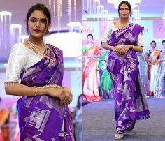 Kanchi Pattu Sarees with tassels on sleeve hem Kids Blouse Designs, Silk Saree Blouse Designs, Bridal Blouse Designs, Blouse Neck Designs, Saris, Purple Saree, Silk Sarees Online Shopping, Kanchipuram Saree, Banarasi Sarees