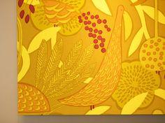 Marimekko textile designed by Masaru Suzuki #yellow #bird #flower