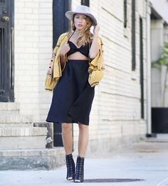 Get this look: http://lb.nu/look/8387759  More looks by Lauren G.: http://lb.nu/themarcystop  Items in this look:  Tobi Linen Cutout Halter Midi Dress, Tobi Suede Panama Hat, Free People Embroidered Jacket, Nasty Gal Cage Heels   #bohemian #lbd #street #summer #dresses #shoptobi #freepeople #boho