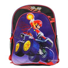 "16/"" Backpack School Book Bag Super Mario Bros Wii YOSHI LUIGI TOAD Flying Black"