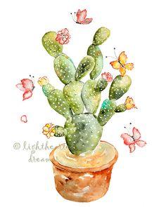 Impresión verde cactus suroeste decoración por LightheartedDreamer