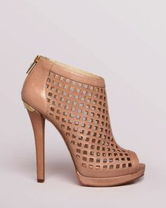 Michael Kors Heels | Light Pink Leather Cutout Booties in Size 7, 8 1/2 or 10 #MichaelKors #FashionAnkle