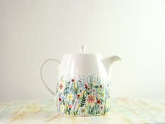 Hand painted teapot - wildflowers in spring meadow - fine bone china