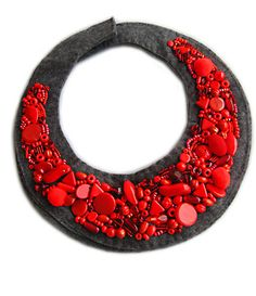 https://flic.kr/p/6Bmx7R | ROWAN COLLAR | Rowan Collar, materials: milions of only red beads and other stuff, grey felt. made: 2008  * All rights of the design reserved