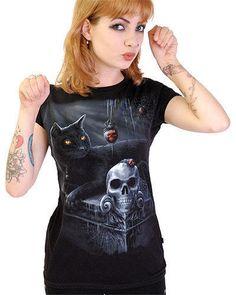 bddba6ba9f4e1 T SHIRT Ladies Womens Girls BLACK CAT Skull Goth Fantasy DARKSIDE CLOTHING  Cat Skull