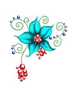 Flower Tattoos Little Tatto. I'm loving this blue. Wow